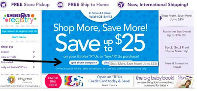 Ends today! Save Up to $25 When You Shop at Babies R' Us!