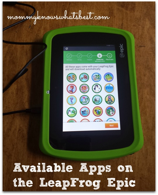 Apps on the LeapFrog Epic