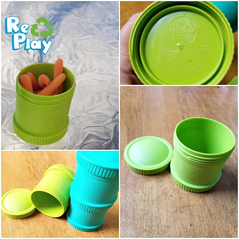 Re-Play Recycled Snack Stacks: Colorful snack containers that can be stacked together.