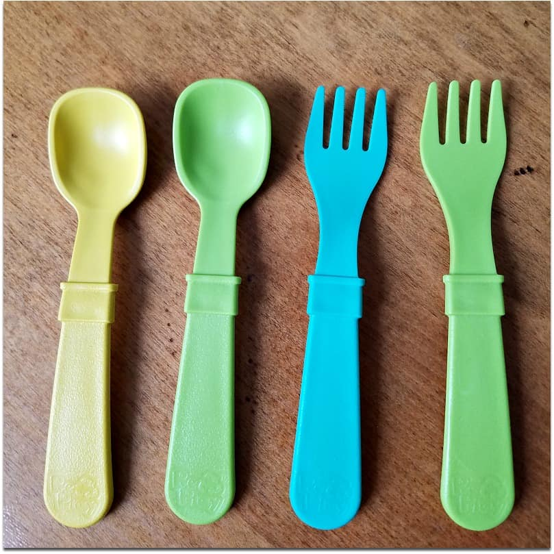 Re-Play Forks and Spoons, made from safe recycled materials.