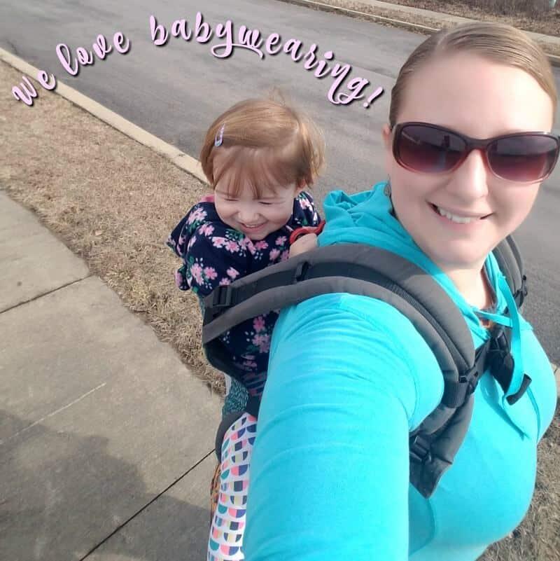 babywearing a toddler on back