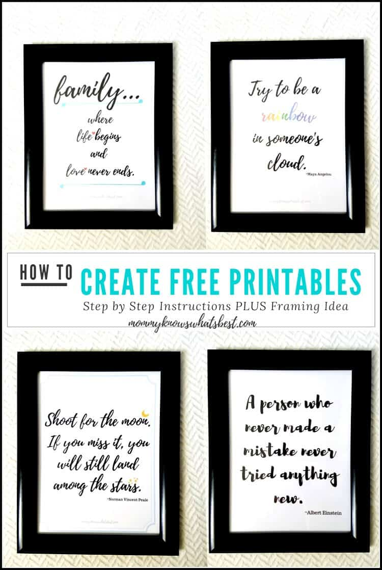 Now sure how to make printables? Learn how to create free printable quotes to frame using Canva.
