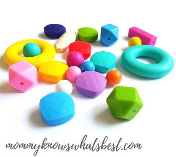 Safe silicone chewable beads, used for making sensory necklaces.