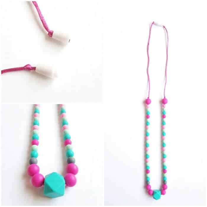 DIY Chew Necklace for Older Kids using colorful chewable beads.