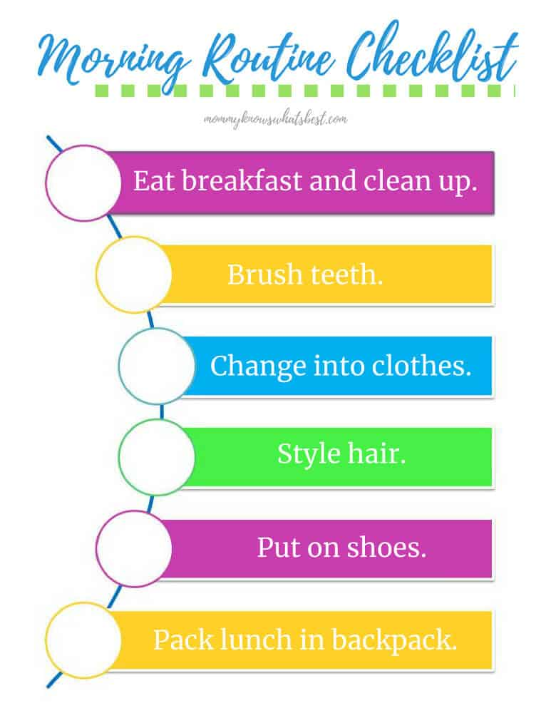 School Morning Routine Checklist for Kids