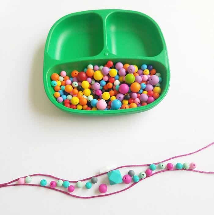 Chewable beads used to make sensory necklaces for kids.