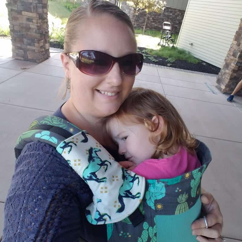 Mom carrying toddler in Toddler Tula baby carrier.