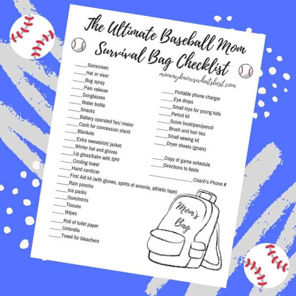 Baseball Mom Survival Bag Checklist Printable