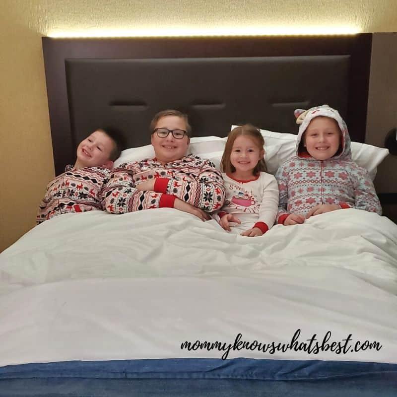 Hershey Lodge Kids in Room in Christmas Pajamas