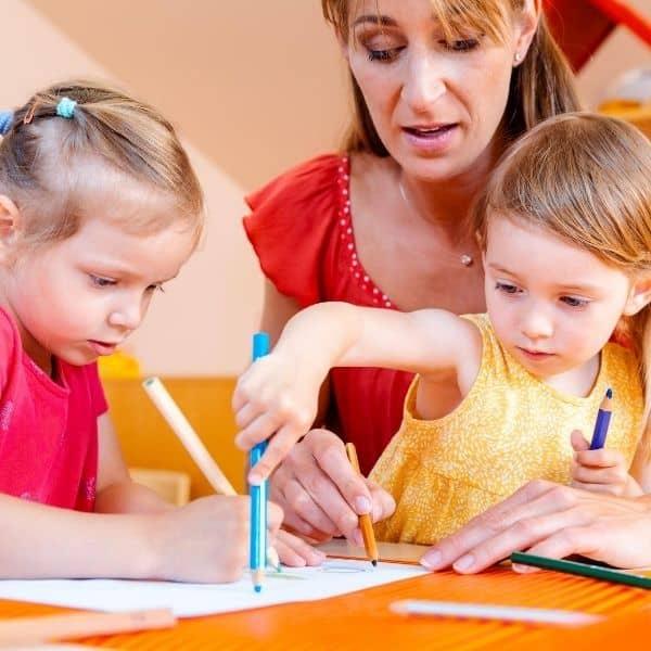 Homeschool mom and kids