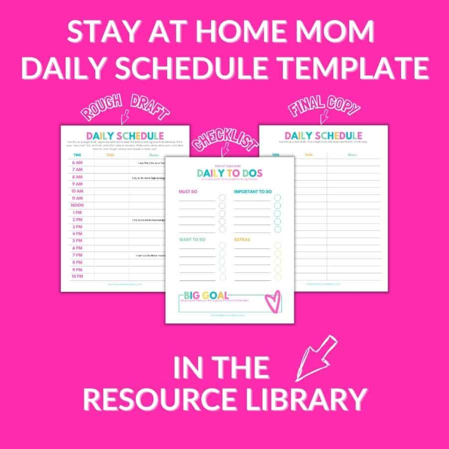 stay at home mom daily schedule template printable