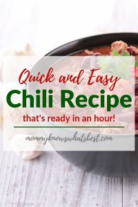 Quick and Easy Chili Recipe, Chili With Beans