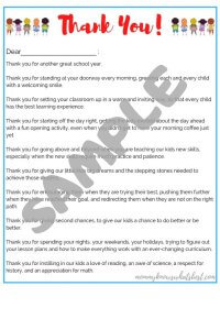SAMPLE Thank You Letter to Teachers Printable