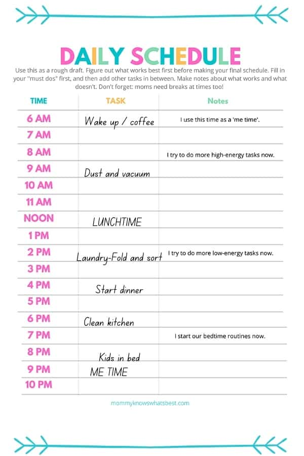 Stay at Home Mom Schedule Printable Templates