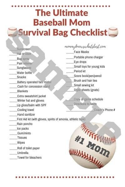 Ultimate Baseball Mom Bag Checklist Printable