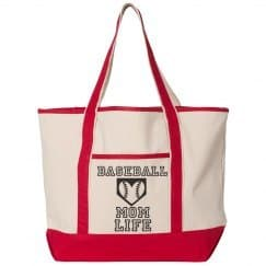 Baseball Mom Life Bag, Tote Bag with Baseball Heart